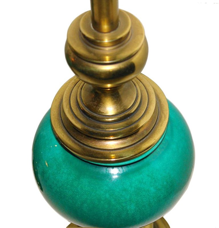 Italian Pair of Green Porcelain Table Lamps For Sale