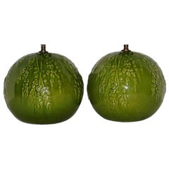 Pair of Green Porcelain Table Lamps