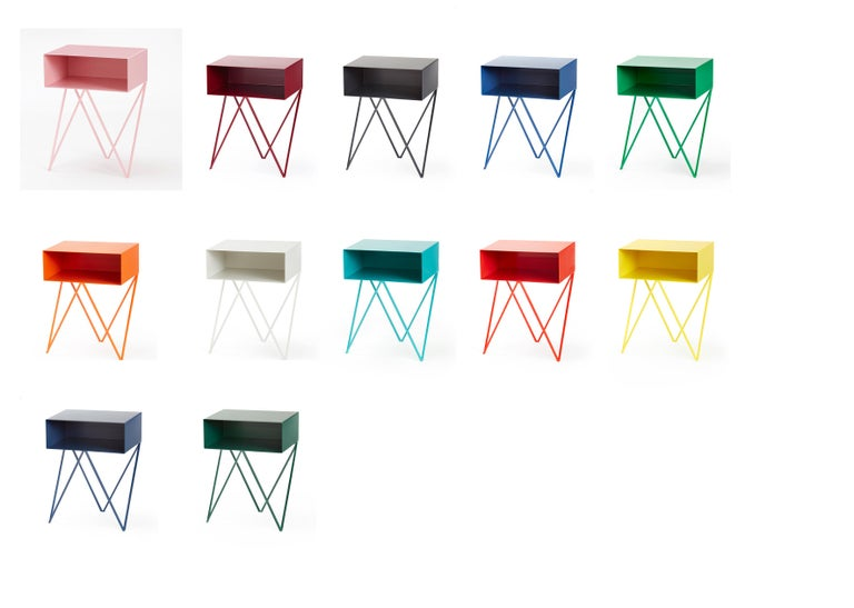 Contemporary Pair of Green Powder Coated Steel Robot Bedside Tables For Sale
