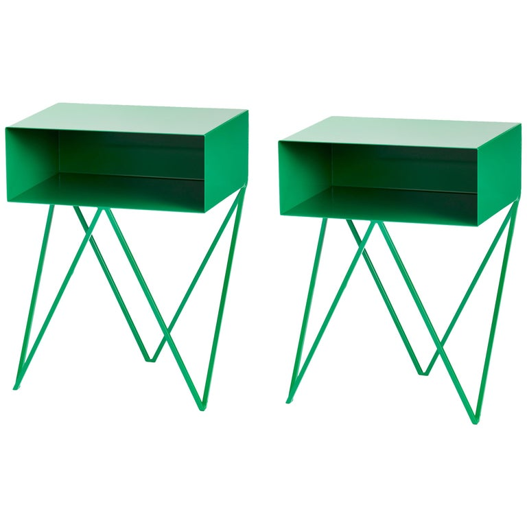 Pair of Green Powder Coated Steel Robot Bedside Tables For Sale
