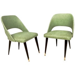 Pair of Green Skai Side Chairs with Ebonized Wood Legs, Italy, 1950s