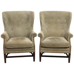 Pair of Green Suede Upholstered Wing Back Chairs
