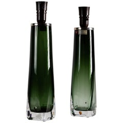Pair of Green Table Lamps by Carl Fagerlund for Orrefors, Sweden, circa 1960s