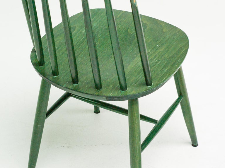Dyed Pair of Green Tapiovaara Chairs For Sale