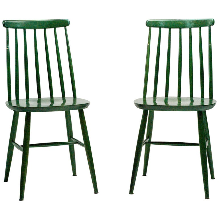 Pair of Green Tapiovaara Chairs For Sale