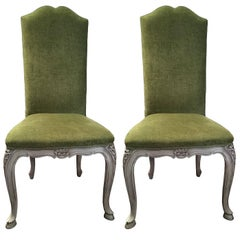 Pair of Green Upholstered Andrew Martin Fabric Louis XV French Style Chairs