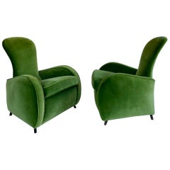 Pair of Green Velvet Armchairs, Europe, Possibly Italian, circa 1950s
