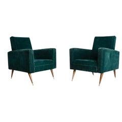 Pair of Green Velvet Armchairs, Italy, Mid-20th Century