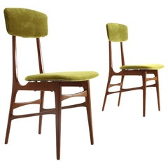 Pair of Green Velvet Chairs, 1960s