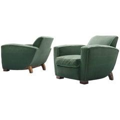 Pair of Green Velvet Easy Chairs