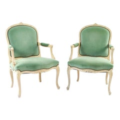 Pair of Green Velvet Louis XV Style Arm Chairs