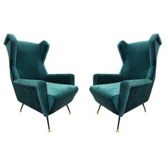 Pair of Green Velvet Midcentury Armchairs