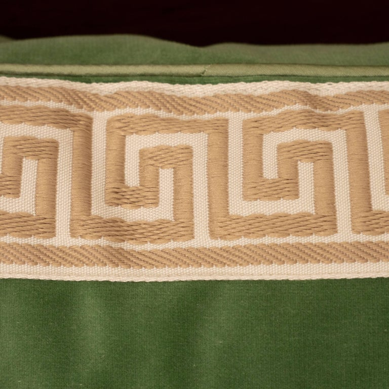 Pair of Green Velvet Pillows with Greek Key In Excellent Condition For Sale In New York, NY
