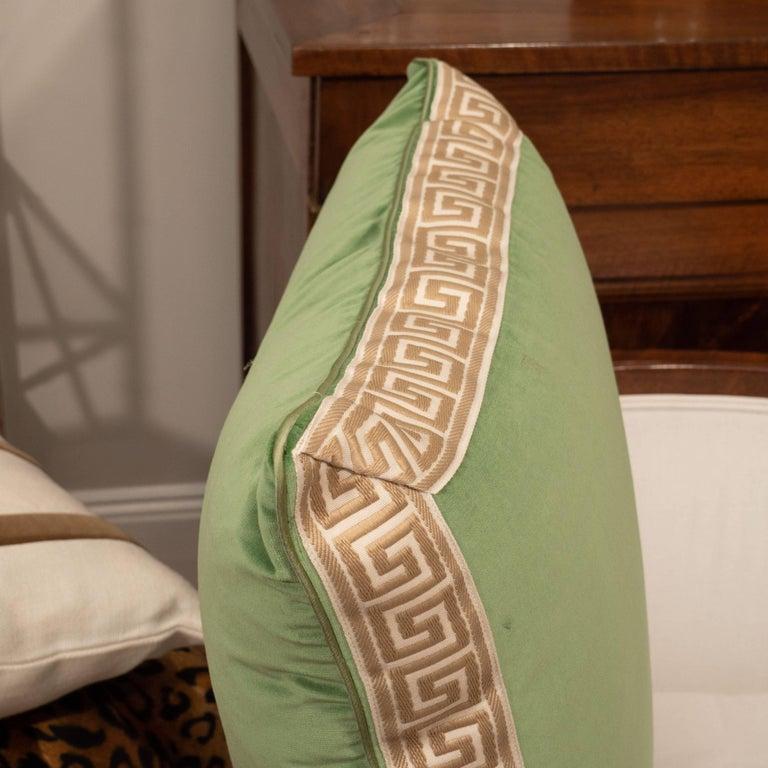 Pair of Green Velvet Pillows with Greek Key For Sale 1
