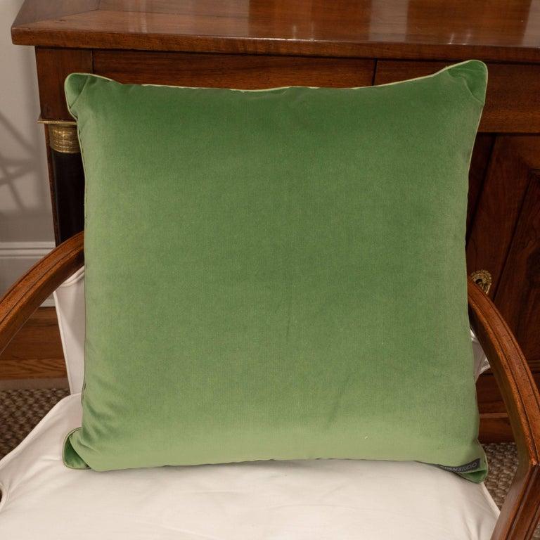 Pair of Green Velvet Pillows with Greek Key For Sale 2