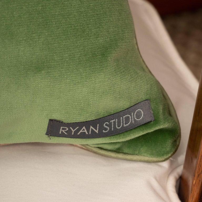 Pair of Green Velvet Pillows with Greek Key For Sale 3