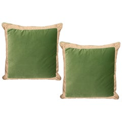 Pair of Green Velvet Pillows with Greek Key