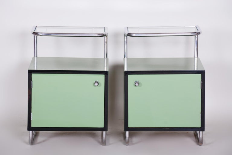 This original Bauhaus bed-side tables manufactured by Vichr and spol is a perfect representation of the simplistic elegance of the Bauhaus era.  This perfect example of Czech Bauhaus style which hails from a weighty midcentury conglomerate of