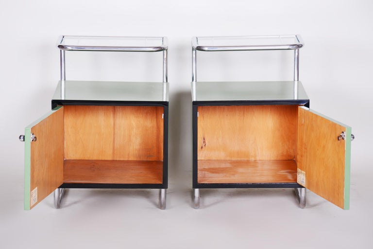 Czech Pair of Green Vintage Bauhaus Bed Side Tables, Vichr, 1930s Glass Removable Desk