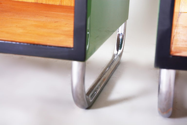20th Century Pair of Green Vintage Bauhaus Bed Side Tables, Vichr, 1930s Glass Removable Desk