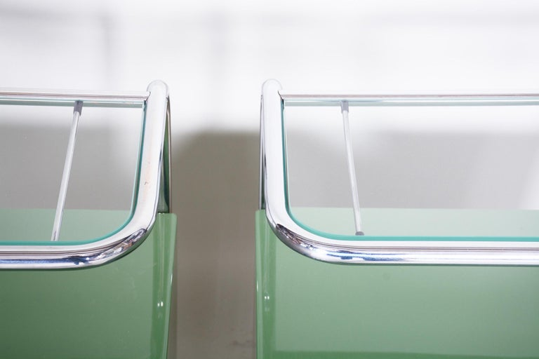Pair of Green Vintage Bauhaus Bed Side Tables, Vichr, 1930s Glass Removable Desk 1