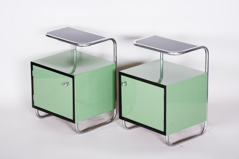 Pair of Green Vintage Bauhaus Bed Side Tables, Vichr, 1930s Glass Removable Desk 2