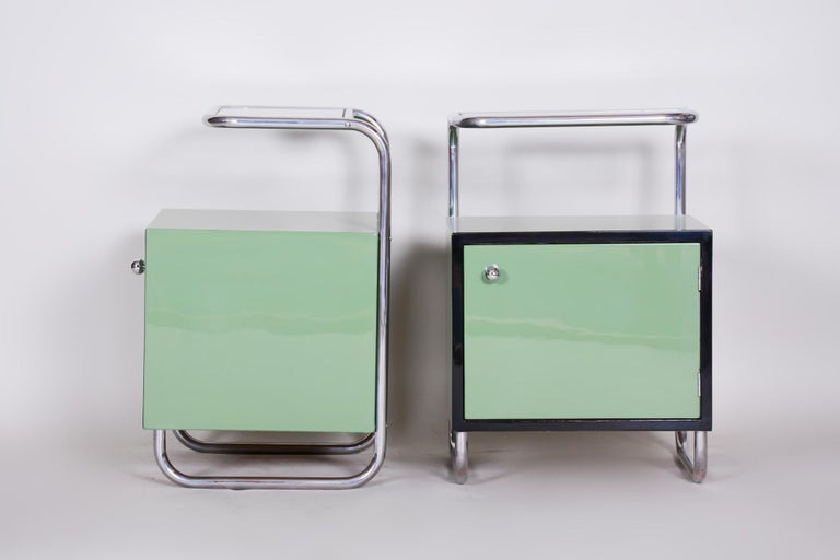 Pair of Green Vintage Bauhaus Bed Side Tables, Vichr, 1930s Glass Removable Desk 3