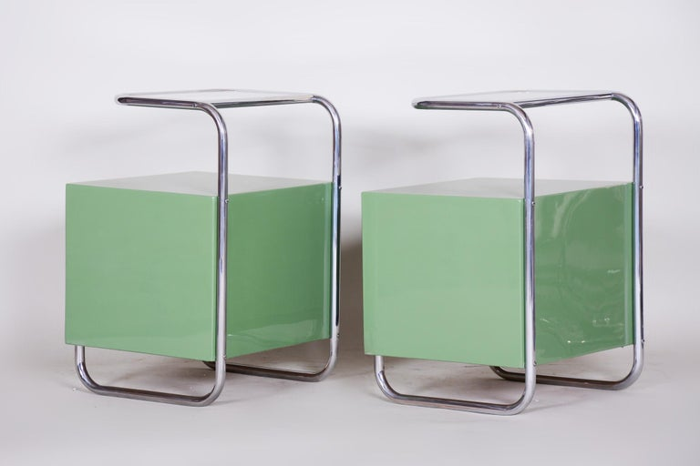 Pair of Green Vintage Bauhaus Bed Side Tables, Vichr, 1930s Glass Removable Desk 4