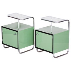 Pair of Green Vintage Bauhaus Bed Side Tables, Vichr, 1930s Glass Removable Desk