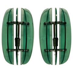 Pair of Green Wall Lights by Veca
