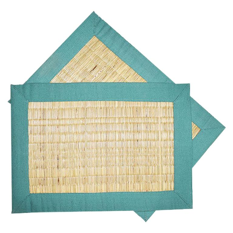 Set of Four Green Wicker Placemats