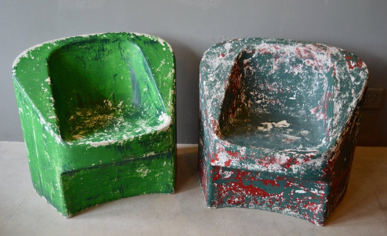 Rare set of green sculptural concrete chairs by Willy Guhl for Eternit. Priced as a set of two.