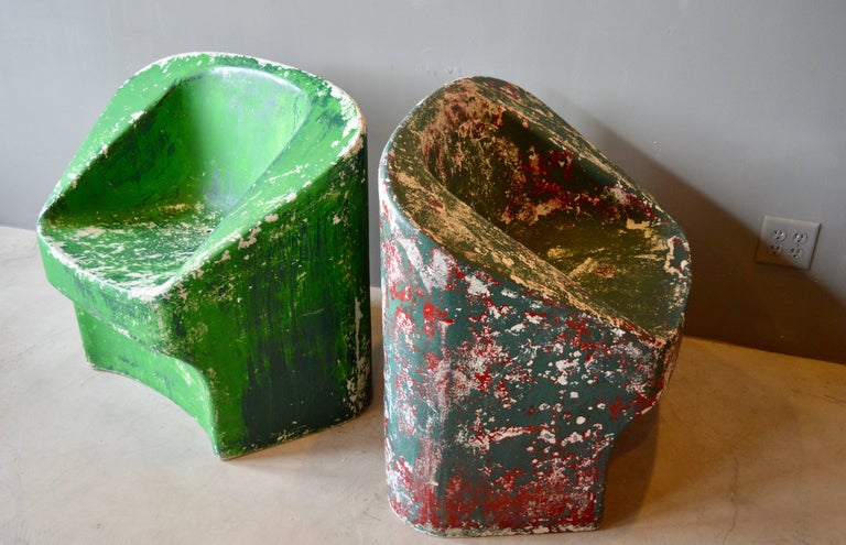 Swiss Pair of Green Willy Guhl Sculptural Chairs For Sale