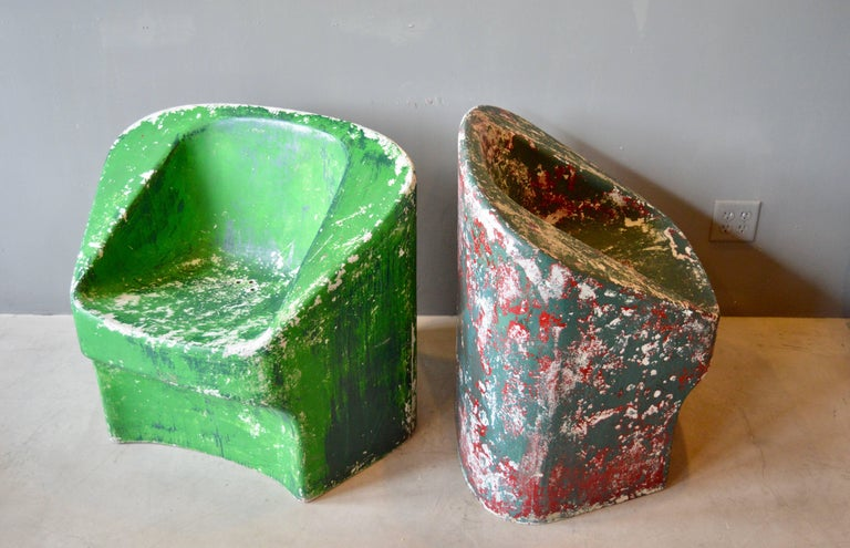 Pair of Green Willy Guhl Sculptural Chairs In Excellent Condition For Sale In Los Angeles, CA