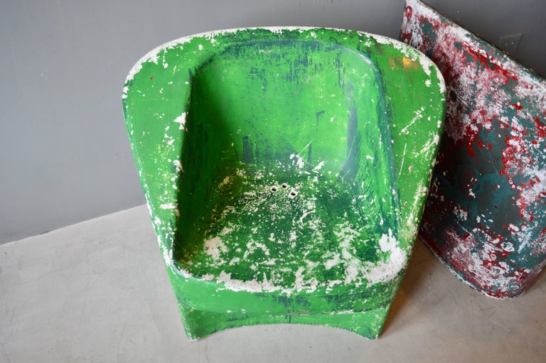 Mid-20th Century Pair of Green Willy Guhl Sculptural Chairs For Sale