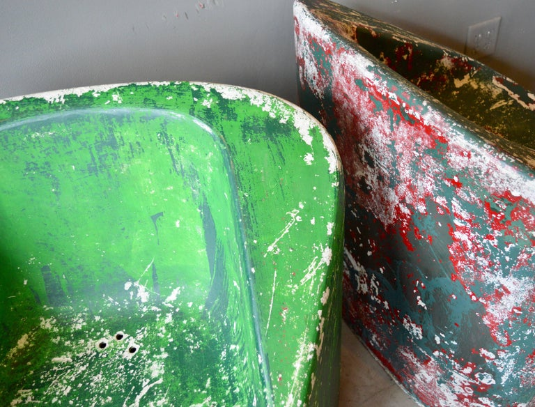 Concrete Pair of Green Willy Guhl Sculptural Chairs For Sale
