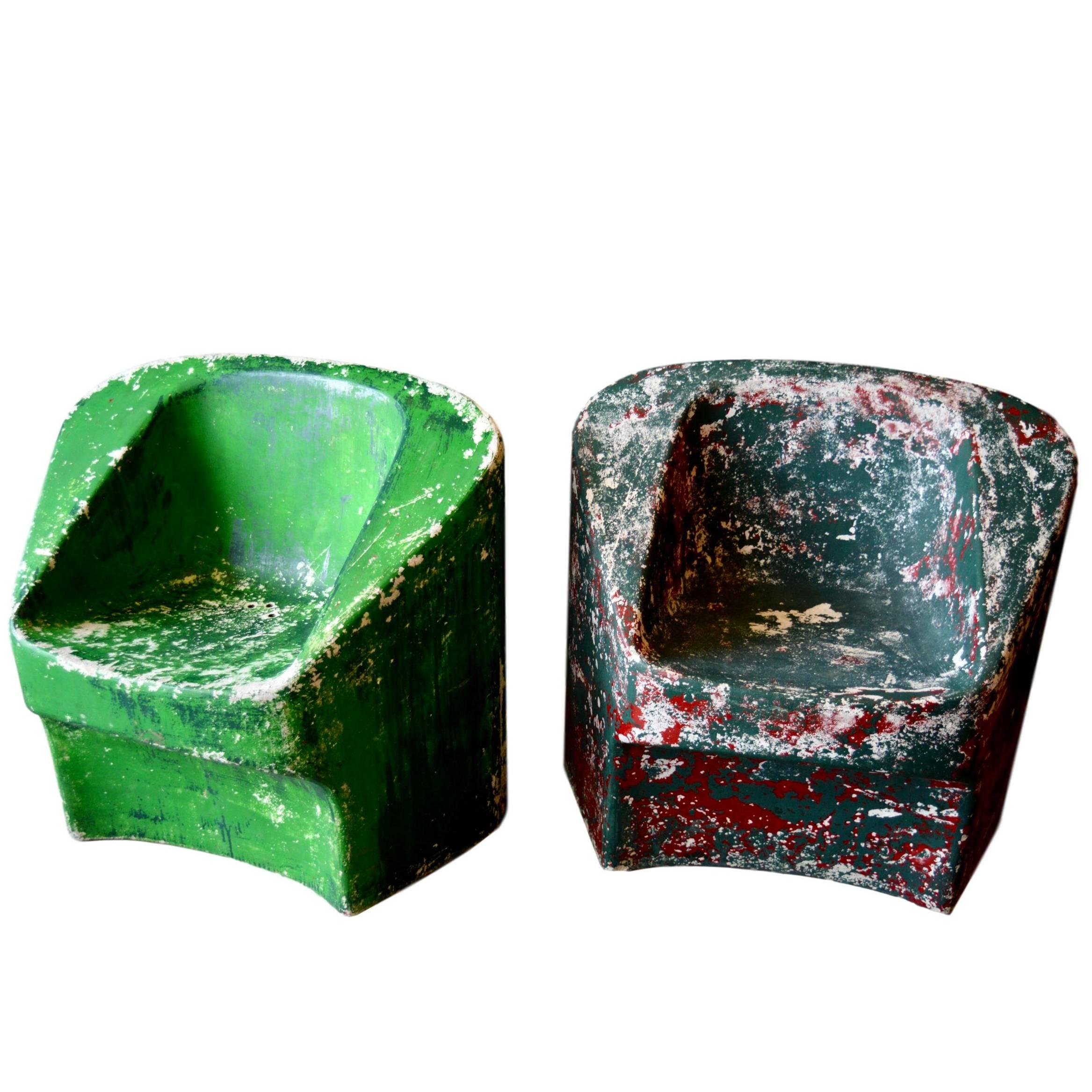 Pair of Green Willy Guhl Sculptural Chairs