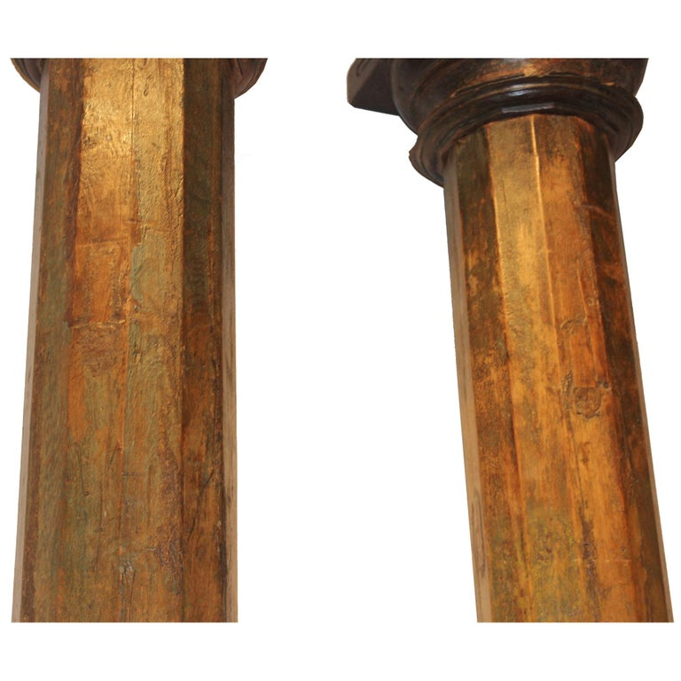 Pair of Green Wood Columns For Sale 5