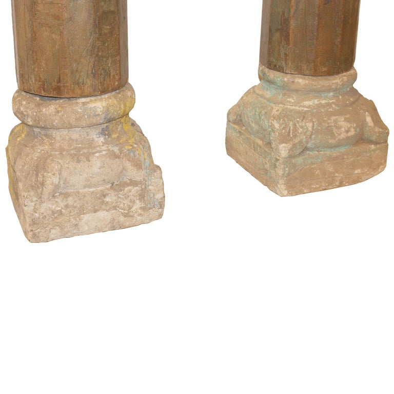 Pair of Green Wood Columns In Good Condition For Sale In San Francisco, CA