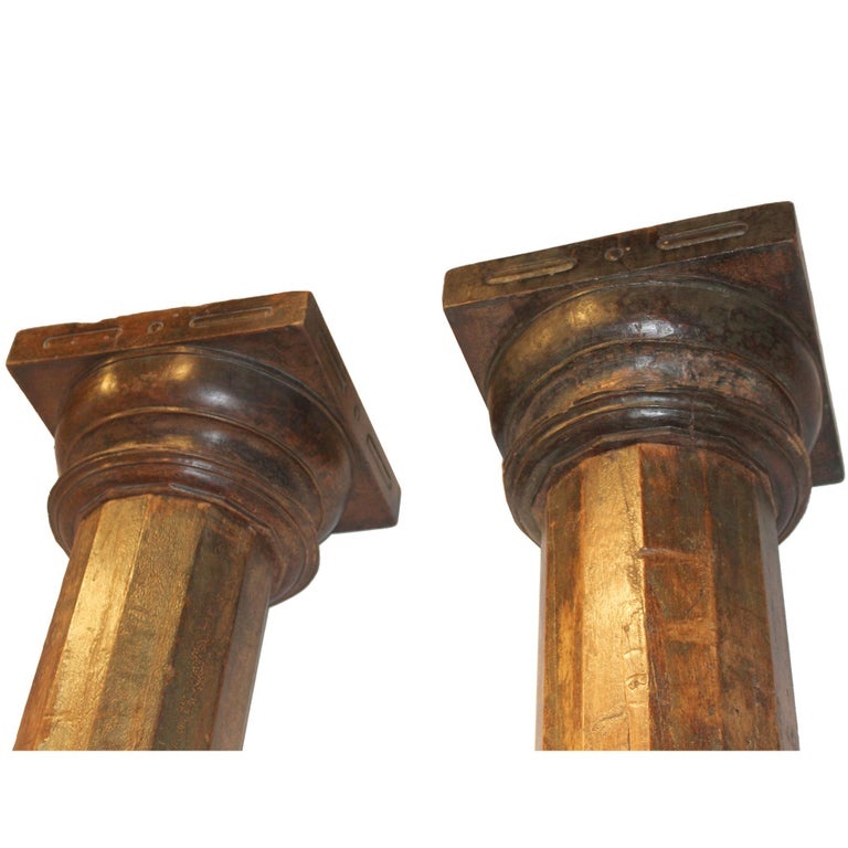 Pair of Green Wood Columns For Sale 3