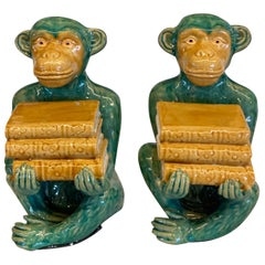Pair of Green/Yellow Monkey Statues