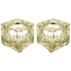 "Pair of Greenish table Lamp ""Cubo Sfera"" 1968 Allessandro Mendini"