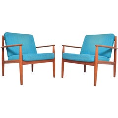 Pair of Grete Jalk Danish Modern Lounge Chairs in Teak by France and Son