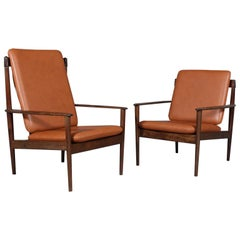 Pair of Grete Jalk Lounge Chair, in Mahogany