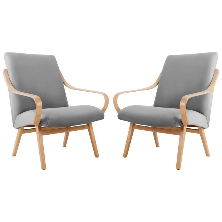 Pair of Grey Armchairs, Jaroslav Šmidek for Ton, Czech Republic, 1960s For Sale