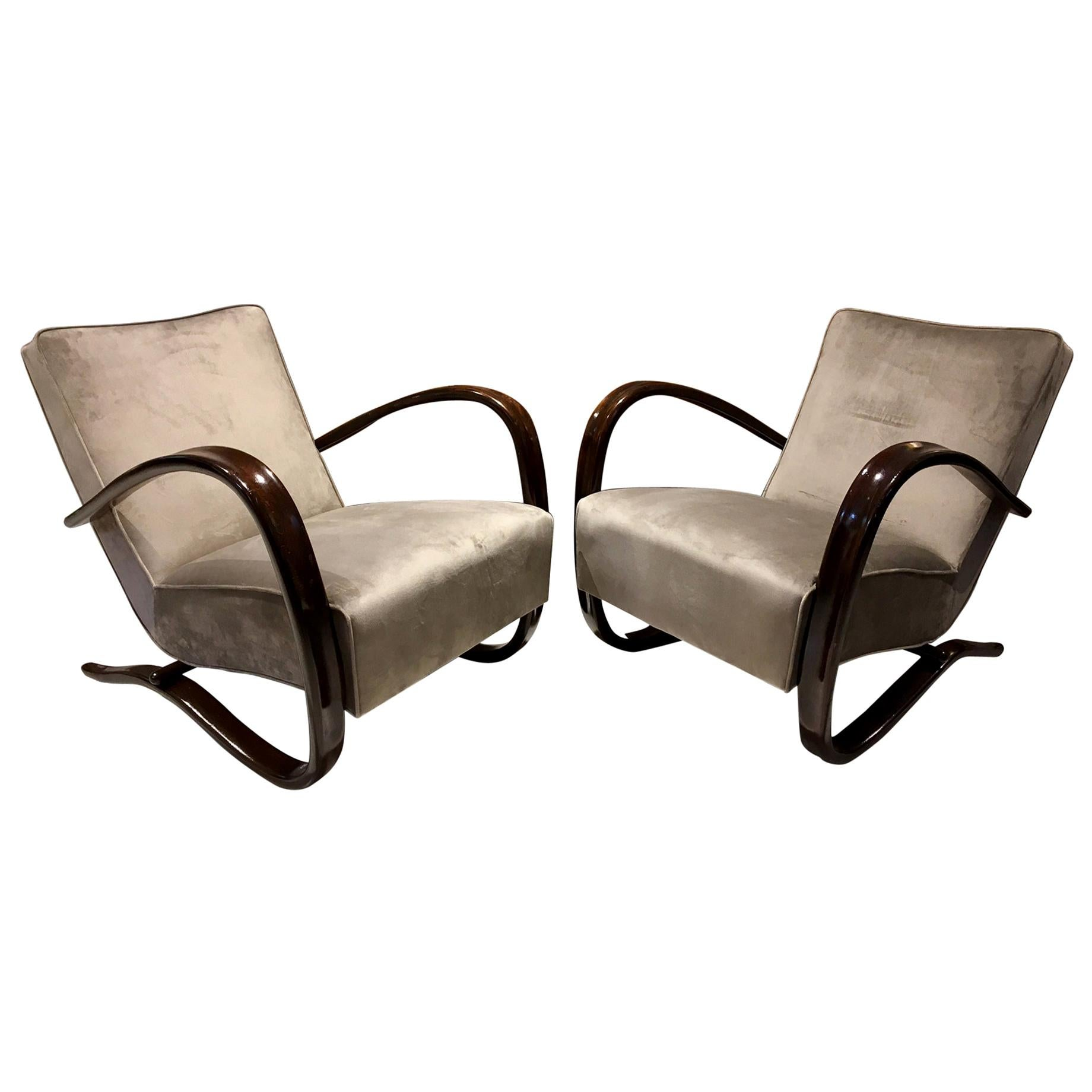 Pair of Grey Armchairs Kreslo H269 by Jindřich Halabala