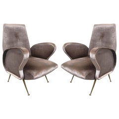 Pair of Grey Italian Silk Velvet Chairs, in the Style of Gio Ponti