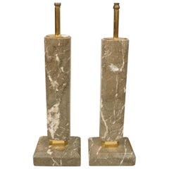 Pair of Grey Marble Column Table Lamps