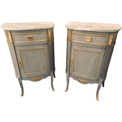 Pair of Grey Marble Top Louis XV Style Nightstand or End Tables or Side Tables