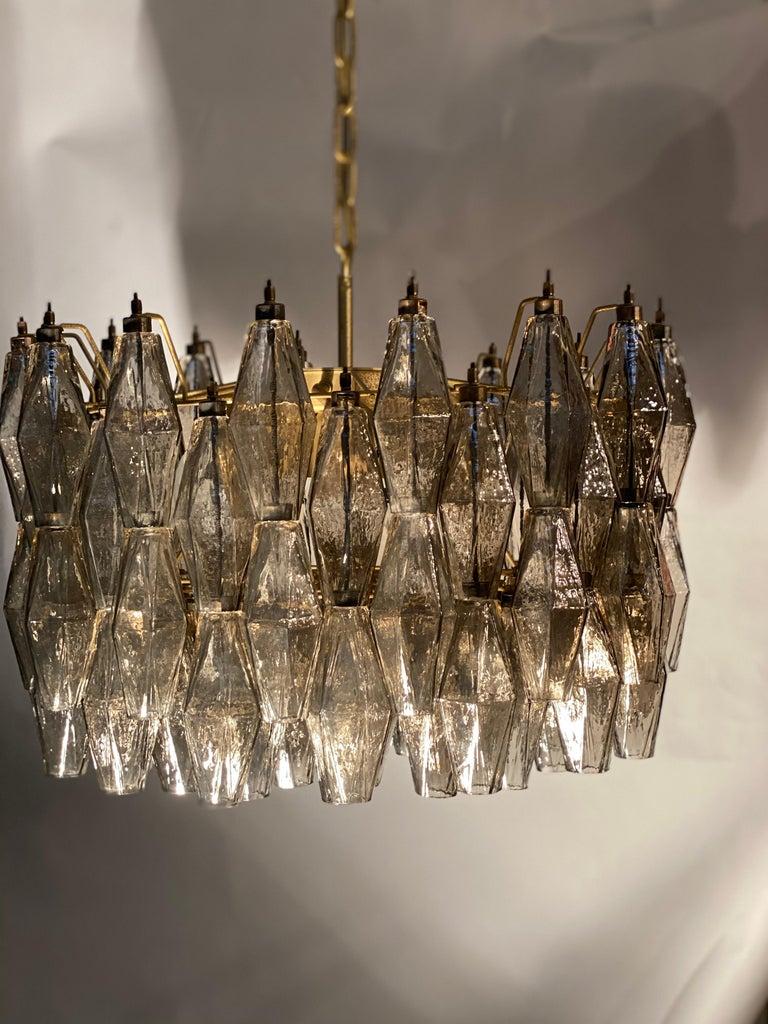 Pair of Grey Poliedri Murano Glass Chandeliers Carlo Scarpa Style For Sale 6